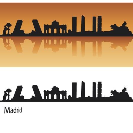 Madrid Skyline in orange background in editable vector file