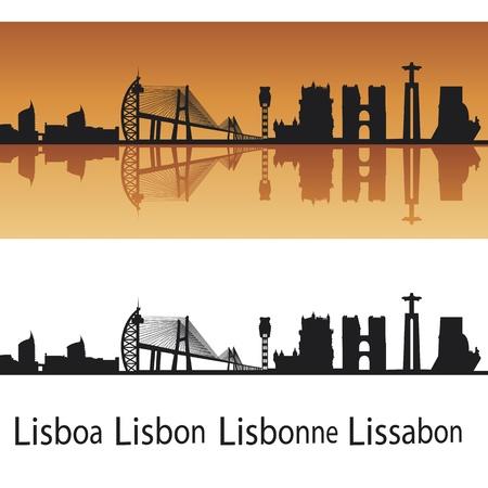 Lisbon skyline in orange background in editable  file