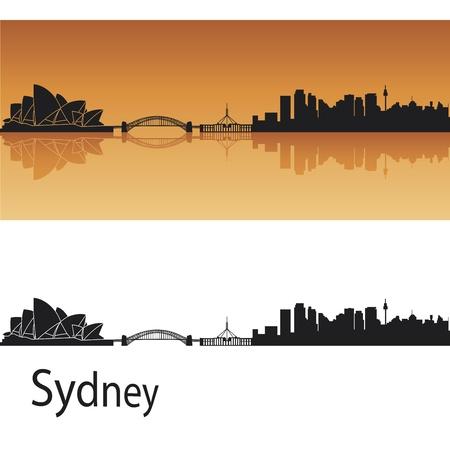 Sydney skyline in orange background in editable vector file
