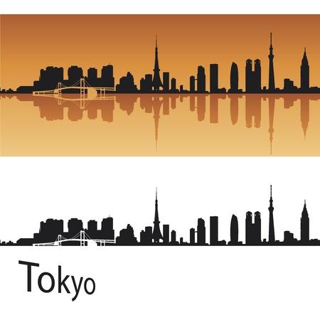 Tokyo skyline in orange background in editable vector file