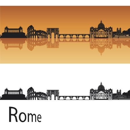 Rome skyline in orange background in editable vector file