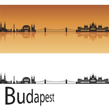 Budapest skyline in orange background in editable vector file