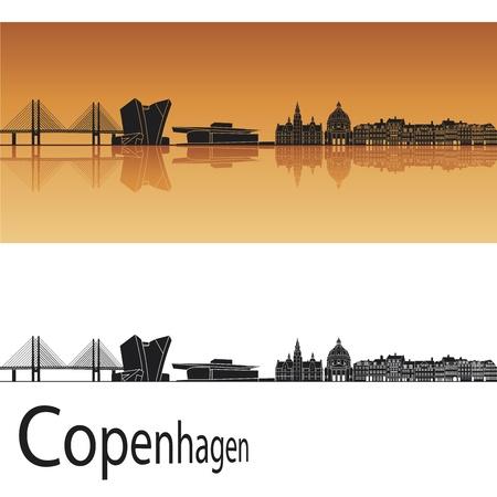 Copenhagen skyline in orange background in editable