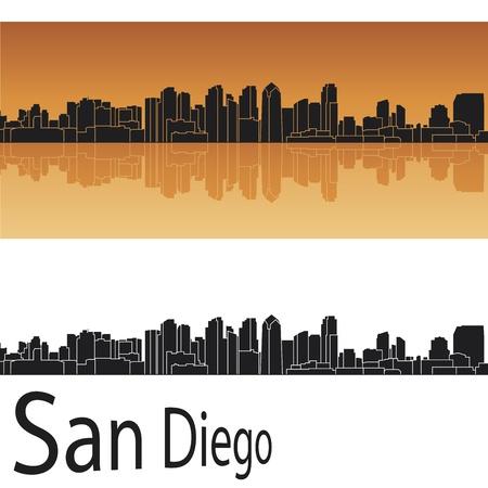 San Diego skyline in orange background
