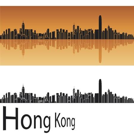 Hong Kong skyline in orange background