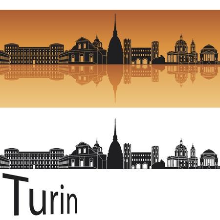 Turin skyline in orange background in editable