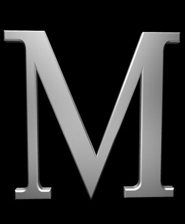 Letter M in brushed steel isolated on black with clipping path
