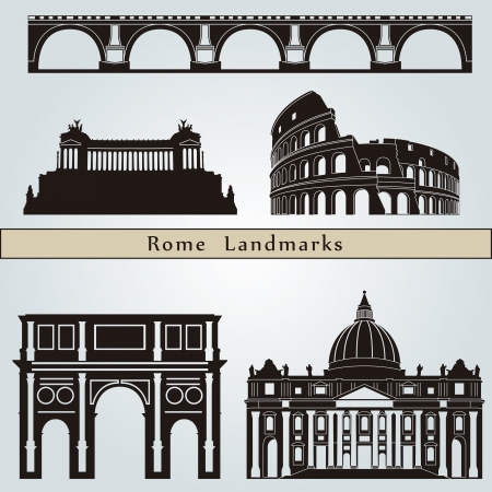Rome landmarks and monuments isolated on blue background in editable vector file