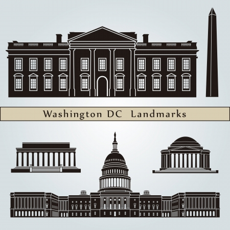 Washington DC landmarks and monuments isolated on blue background in editable vector file