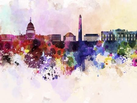 Washington DC Skyline In Watercolor