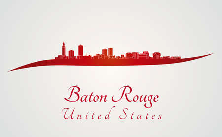 Baton Rouge skyline in red and gray background in editable vector file