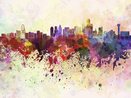 Dallas skyline in watercolor background