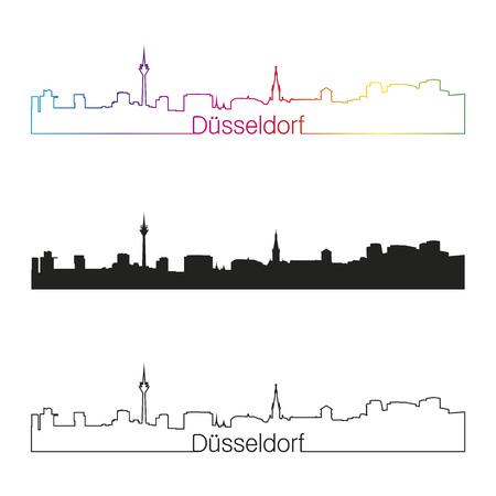 Dusseldorf linear style skyline with rainbow in editable vector file