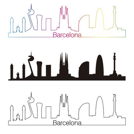 Barcelona skyline with rainbow linear style in editable vector file