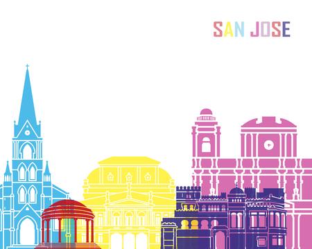 San Jose CR skyline pop in editable vector file