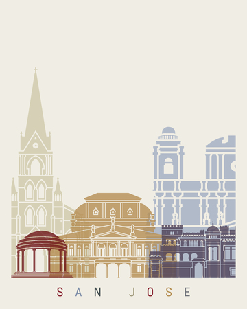 San Jose CR skyline poster in editable vector file