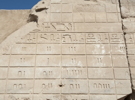 Ancient Egyptian hieroglyphic carvings on a temple wall at Karnak in Luxor