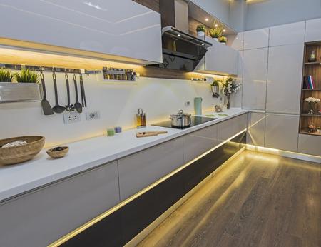 Foto de Interior design decor showing modern kitchen and appliances in luxury apartment showroom - Imagen libre de derechos