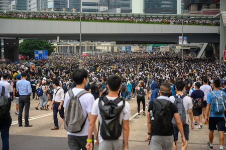 Photo for HONG KONG - June 12, 2019: Anti-Extradition Bill Protest in Hong Kong. Protestors are surrounding HK Legislative Council building to stop the bill. - Royalty Free Image