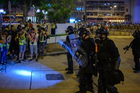 Hong Kong - July 32, 2019: Anti- Extradition bill protest in Hong Kong Island. Police fire tear gas and rubber bullet.