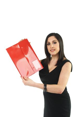 business woman holding red file