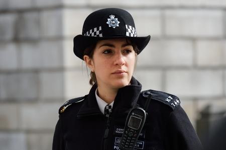 CITY OF LONDON ENGLAND 13 March 2015:  Metropolitan Policewoman on duty
