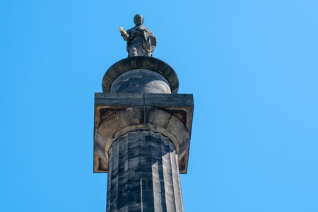 Looking up at Column of Lord Wilbeforce anti slavery campaigner Hull Yorkshire