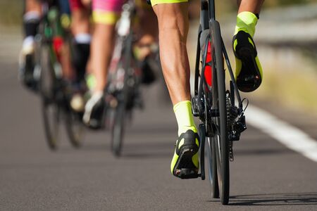 Photo pour Group of cyclist at professional race, cyclists in a road race stage - image libre de droit