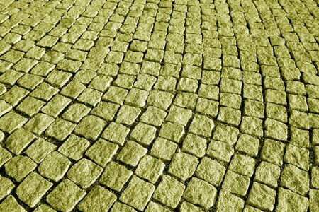 Photo for Stone pavement texture in yellow tone. Abstract background and texture for design. - Royalty Free Image
