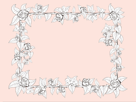 Decorative frame of barbed branches of a rose with leaves and rose buds around the perimeter of pastel colours. For a stylish greeting cards and postcards.