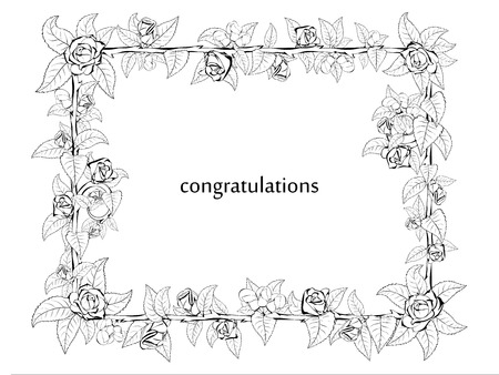 Decorative frame of barbed branches of a rose with leaves and rose buds around the perimeter in a black and white theme for stylish greetings and cards.