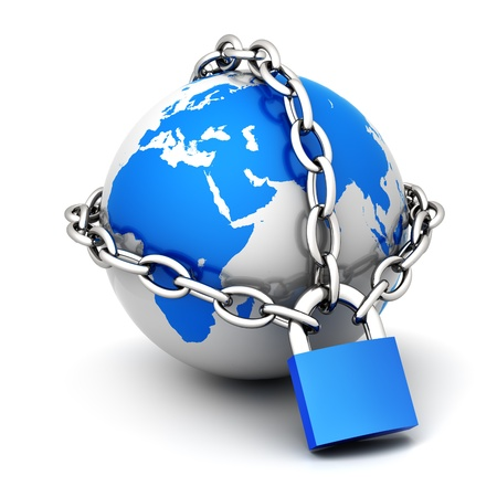 Photo pour Earth globe close in chain and padlock - image libre de droit