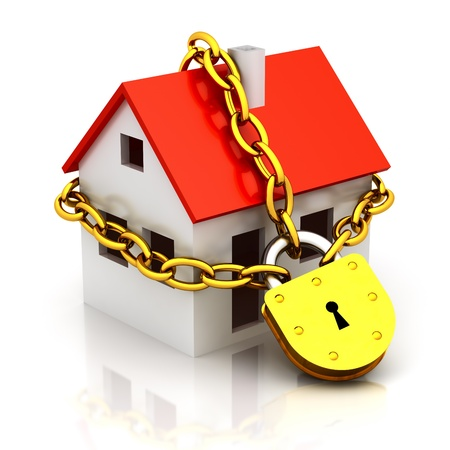 Photo pour House closed in chain and padlock - image libre de droit