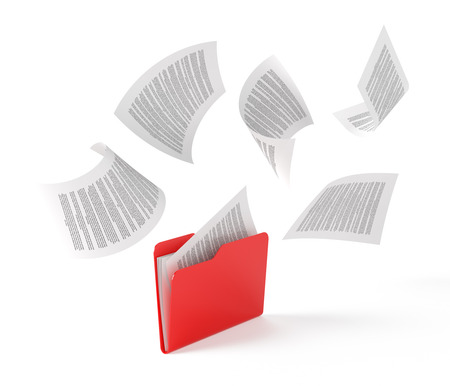 Foto de Red folder with a documents isolated on white. - Imagen libre de derechos