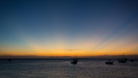Foto de evening scene on sea after sunset - Imagen libre de derechos
