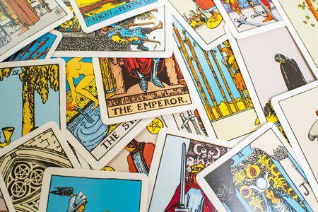 Photo pour A deck of tarot cards. Fortune telling, prediction. Magic - image libre de droit