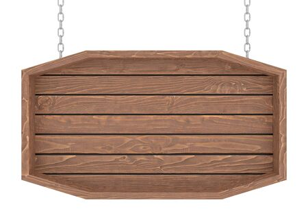 Photo pour Wooden signboard with chain on white background. 3d render. - image libre de droit