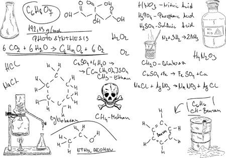 hand draw Organic Chemistry on background