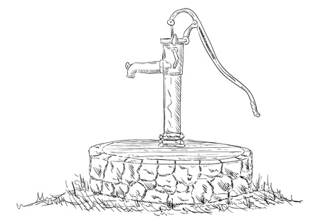 vector - old water pump - isolated on background
