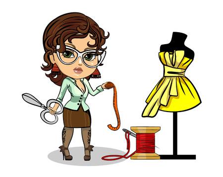 Illustration pour Vector illustration of a tailor designer clothes - image libre de droit