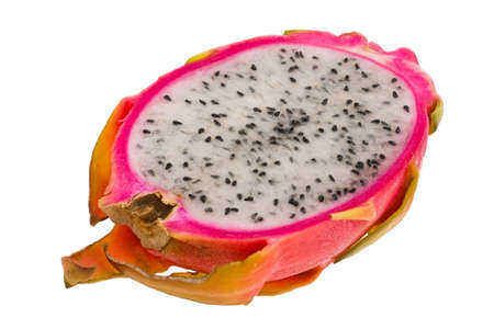 The ripe fruit pitahaya depicted on a white background