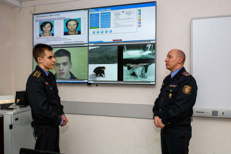 Photo for MINSK, BELARUS - 1 MARCH, 2020: cadets study at the police academy - Royalty Free Image