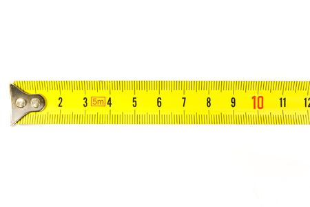 Metal ruler on the white background