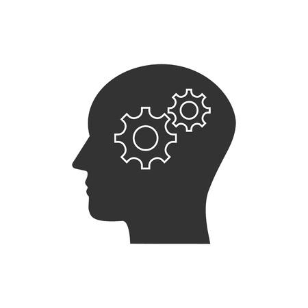 Illustration pour Vector illustration, flat design. Head, gear solution idea icon - image libre de droit
