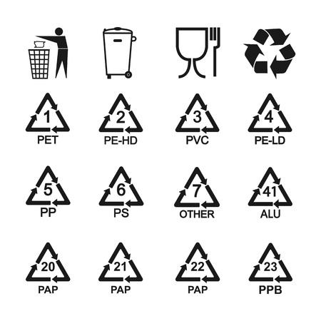Illustration pour Packaging recycling icons set. Vector illustration, flat design. - image libre de droit
