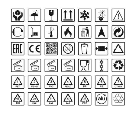 Illustration pour Packaging icons, package signs set. Vector illustration, flat design. - image libre de droit
