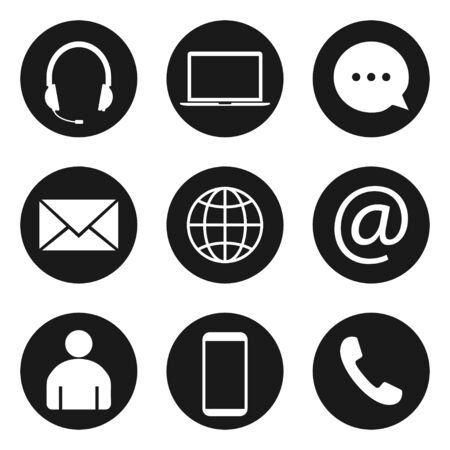 Illustration for Contact Icon set. Vector illustrations. Flat design. - Royalty Free Image