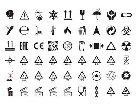 Ilustración de Set of packaging symbol flat design. - Imagen libre de derechos