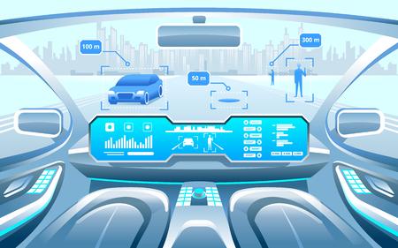 Ilustración de Autonomous Smart car interior. car self driving in the city on the highway. Display shows information about the vehicle is moving, GPS, travel time, scan distance Assistance app. Future concept. - Imagen libre de derechos