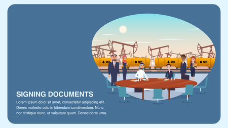 Two Businessman Process Signing Documents. Banner Illustration Mutually Beneficial Cooperation an International Oil Company. Group People for Business Meeting. Yellow Railway Wagon for Transportation